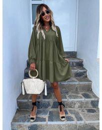 Свободна дамска рокля в маслено зелено - код 6643