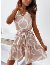 Феерична рокля в цвят пудра с атрактивен принт - код 326