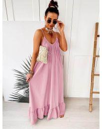 Дълга ефирна рокля в цвят розово - код 2218