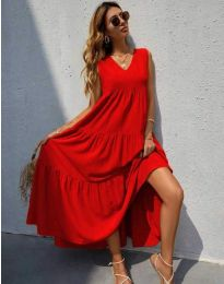 Свободна дълга рокля в червено - код 8149