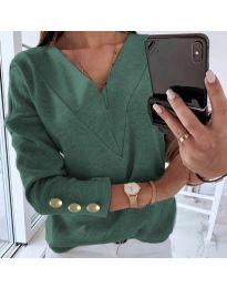 Дамска блуза в маслено зелено - код 0990