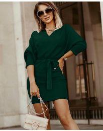 Дамска рокля в тъмно зелено - код 9876