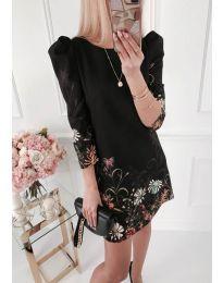 Елегантна рокля с флорални мотиви в черно - код 240