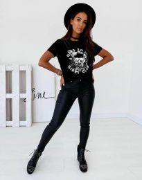 Дамска тениска в черно с принт - код 2527