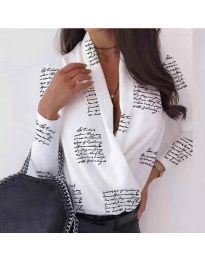 Дамска риза-боди в бяло с надписи - код 678