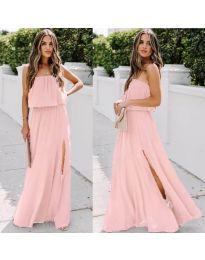 Дълга рокля с цепка в цвят розово - код 061