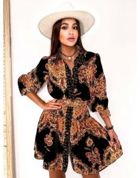 Дамска рокля в черно с атрактивен десен - код 2583 - 1