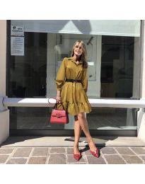 Атрактивна свободна рокля в цвят горчица - код 960