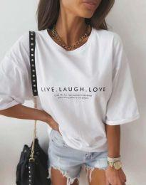 Атрактивна дамска тениска в бяло - код 5056