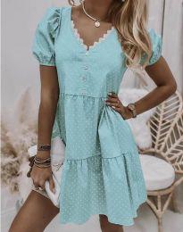 Дамска рокля в цвят мента на точки - код 8292