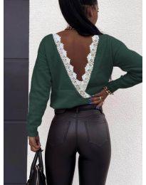Дамска блуза с ефектен гръб в маслено зелено - код 6050