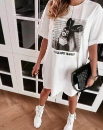 Свободна рокля в бяло с принт - код 2919