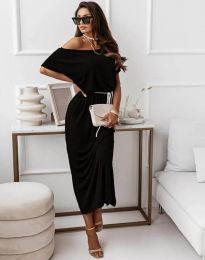 Атрактивна дълга рокля в черно - код 11973