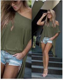Дамска тениска в маслено зелено - код 0909