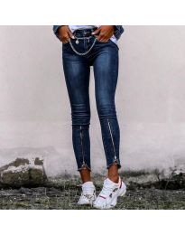 Дамски сини дънки с ципове на крачола - код - 3409