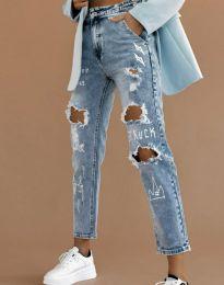 Ефектни скъсани дамски дънки с висока талия в синьо - код 4681