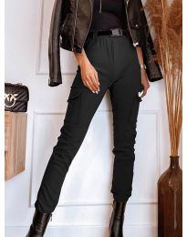 Панталон с джобове в черно - код 4842