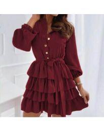 Атрактивна рокля в цвят бордо - код 7356