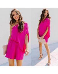 Ефирна дамска рокля в циклама - код 9933