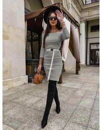 Дамска рокля в сиво - код 5190