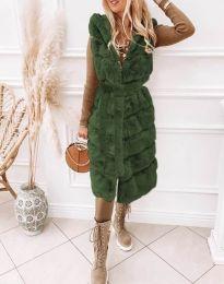 Дълъг дамски елек в зелено - код 2243