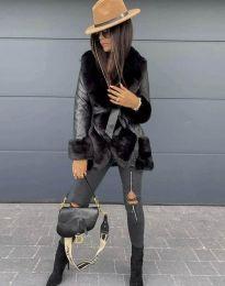 Ефектно дамско палто в черно - код 6005