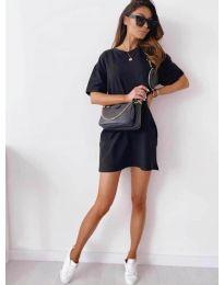 Изчистена рокля с джобове в черно - код 7236