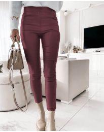Втален дамски панталон в цвят бордо - код 2788