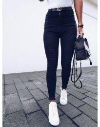 Черни дамски дънки с висока талия - код 3628