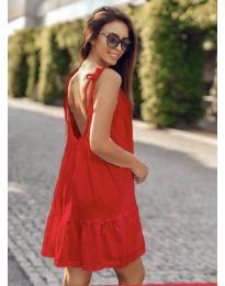 Дамска рокля с изрязан гръб в червено - код 008