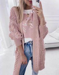 Свободна дълга плетена дамска жилетка в цвят пудра - код 2927
