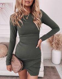 Стилна дамска рокля в масленозелено - код 2835