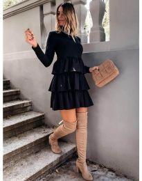 Свободна дамска рокля в черно - код 2951