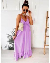 Дълга ефирна рокля в цвят лилаво - код 2218