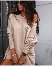 Свободна блуза в бежово - код 5487
