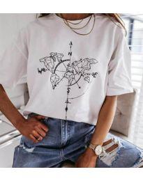 Бяла дамска тениска с компас - код 3717