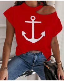 Тениска с голо рамо в червен цвят с котва - код 206