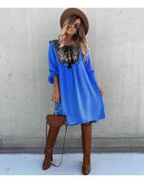 Свободна атрактивна рокля в синьо - код 958