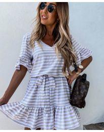 Свободна дамска рокля на райе в бяло и бежово - код 444