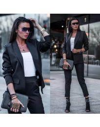 Елегантен дамски комплект от сако и панталон в черно - код 886
