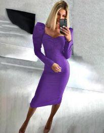 Стилна дамска рокля в лилаво - код 3865
