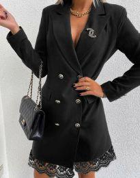 Дамска рокля тип сако в черно - код 6955