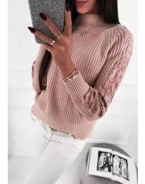 Дамски пуловер с ефектни ръкави в розово - код 745