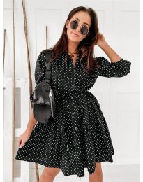 Свободна дамска рокля в черно - код 5557