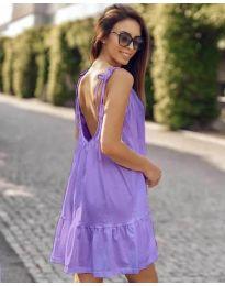 Дамска рокля с изрязан гръб в лилаво - код 008
