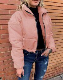Дамско късо спорно яке с цип в розово - код 4077