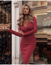 Стилна рокля в бордо - код 340