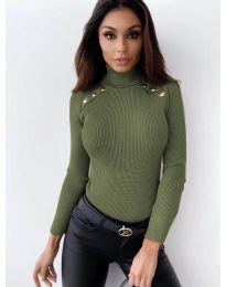 Дамска блуза с поло яка в маслено зелено - код 1910