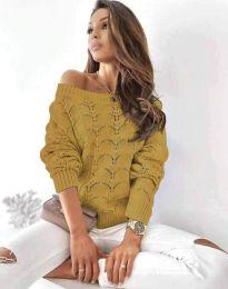 Дамски пуловер в цвят горчица - код 1634