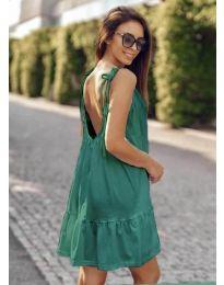 Дамска рокля с изрязан гръб в зелено - код 008